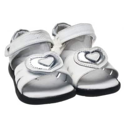 Little Blue Lamb - Chaussures semelle souple | Sandales blanc gros coeur