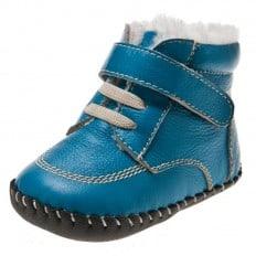 Little Blue Lamb - Scarpine primi passi bimba in morbida pelle | Foderato stivali blu