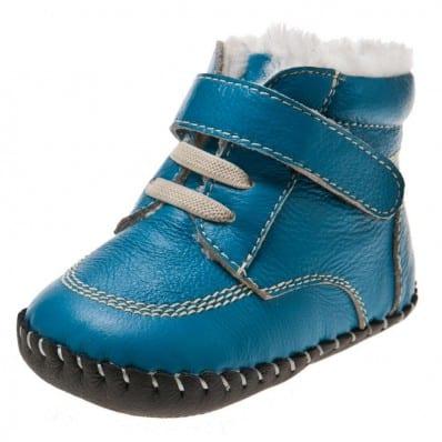 Little Blue Lamb - Zapatos de bebe primeros pasos de cuero niños | Botines forrados azul