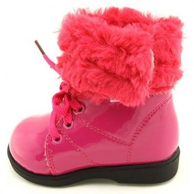 FREYCOO - Zapatos de suela de goma blanda niñas   Montantes forradas rosa