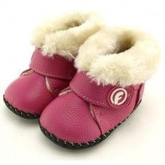 FREYCOO - Chaussures premiers pas cuir souple | Bottines fourrées roses