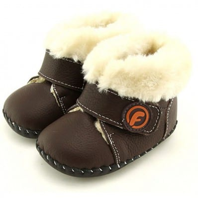 FREYCOO - Chaussures premiers pas cuir souple | Bottines fourrées marron