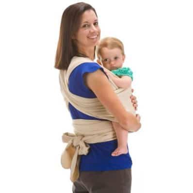 BEBEMOOI - Baby Wrap Sling Carrier Organic cotton and Elastane | Light beige