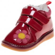 Little Blue Lamb - Zapatos de cuero chirriantes - squeaky shoes niñas | Rojo brillante Flor rosa