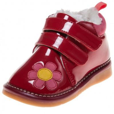 Little Blue Lamb - Zapatos de cuero chirriantes - squeaky shoes niñas   Rojo brillante Flor rosa