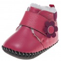 Little Blue Lamb - Chaussures premiers pas cuir souple | Bottines rose fleur fushia