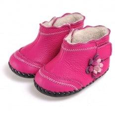 CAROCH - Chaussures premiers pas cuir souple | Montantes fourrées rose avec fleur fushia