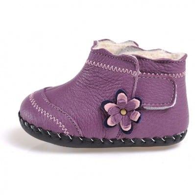 CAROCH - Zapatos de bebe primeros pasos de cuero niñas | Botines forradas púrpura con fiore púrpura
