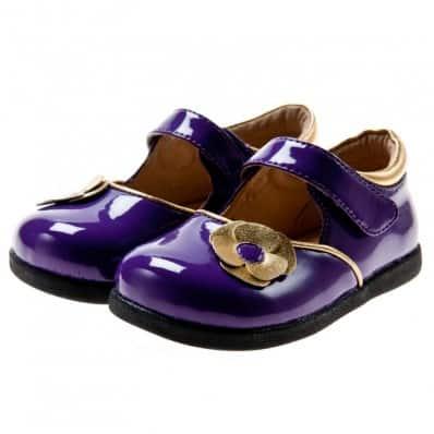 Little Blue Lamb - Chaussures semelle souple | Violet brillant fleur dorée argenté