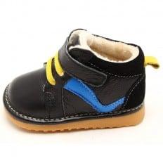 FREYCOO - Krabbelschuhe Babyschuhe squeaky Leder - Jungen | Schwarz und blau