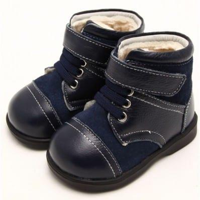 FREYCOO - Chaussures semelle souple | Bottines fourrées bleues et grises