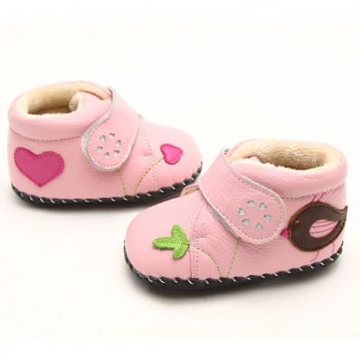 FREYCOO - Zapatos de bebe primeros pasos de cuero niñas | Botines forrados rosa con ave marrón