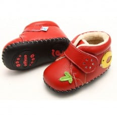 FREYCOO - Baby girls first steps soft leather shoes | Red filled bootees with yellow bird