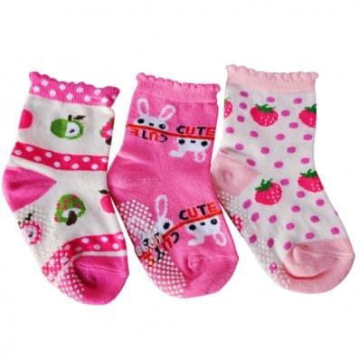 Chaussettes antidérapantes bébé enfant de 1 à 3 ans (lot de 3)