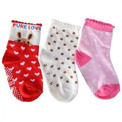 3 paia di calzini antisdrucciolo bambino di 1 a 3 anni | Ragazza 12