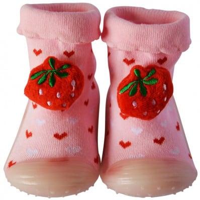 Hausschuhe - Socken Baby Kind geschmeidige Schuhsohle Mädchen | Rosa Erdbeere
