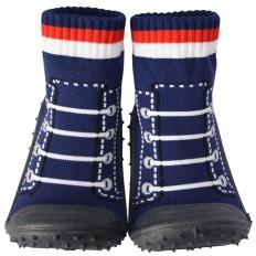 Chaussons-chaussettes enfant antidérapants semelle souple | Basket bleu marine