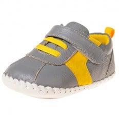 Little Blue Lamb - Zapatos de bebe primeros pasos de cuero niños | Zapatillas de deporte Gris y amarillo