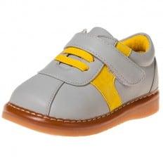 Little Blue Lamb - Zapatos de cuero chirriantes - squeaky shoes niños | Zapatillas de deporte Gris y amarillo