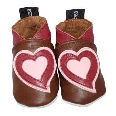 Chausson bébé cuir souple | Double Coeur C2BB - chaussons, chaussures, chaussettes pour bébé