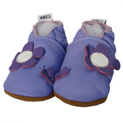 Zapitillas de bebe de cuero suave niñas antideslizante | Flor Morada