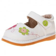 Little Blue Lamb - Zapatos de cuero chirriantes - squeaky shoes niñas | Flores blancas fushia y verde