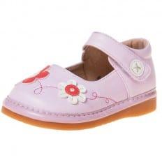 Little Blue Lamb - Zapatos de cuero chirriantes - squeaky shoes niñas | Rosa flor rosa