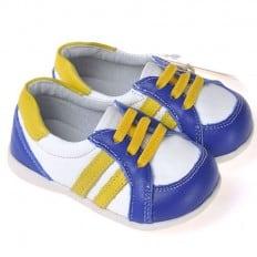 CAROCH - Zapatos de suela de goma blanda niños | Zapatillas de deporte blancas azules con banda amarillas
