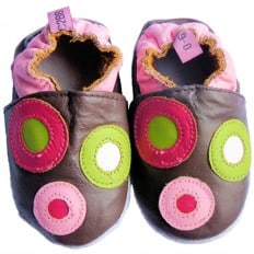 Soft leather baby shoes girls | Brown with dots