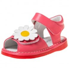 Little Blue Lamb - Squeaky Leather Toddler Girls Shoes | Salmon marguerite sandals