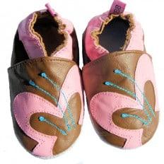 Krabbelschuhe Babyschuhe geschmeidiges Leder - Mädchen | Schmetterling Marone