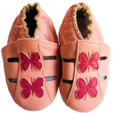 Soft leather baby shoes girls | Small pink butterflies