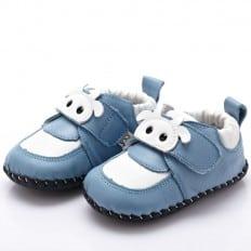 YXY - Krabbelschuhe Babyschuhe Leder - Jungen | Weiße Kuh