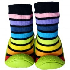 Baby boys Socks shoes with grippy rubber | Black stripes