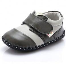 YXY - Chaussures premiers pas cuir souple | Blanc et gris