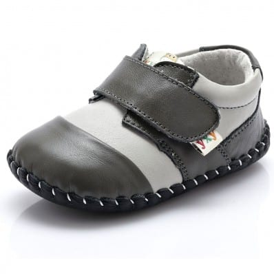 YXY - Baby boys first steps soft leather shoes | White and grey