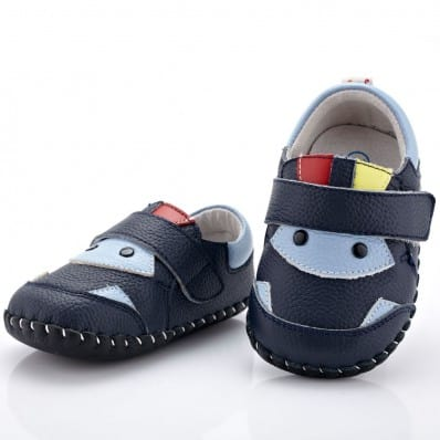 YXY - Baby boys first steps soft leather shoes | Navy blue and light blue