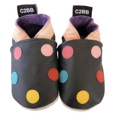 Chausson bébé en cuir souple | Pois marron C2BB - chaussons, chaussures, chaussettes pour bébé