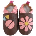 Soft leather baby shoes girls | Pink marguerite