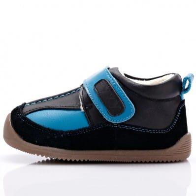 YXY - Krabbelschuhe Babyschuhe Leder - Jungen | Blaue und schwarze
