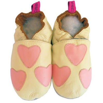 Chaussons bébé cuir souple | Blanc coeur rose