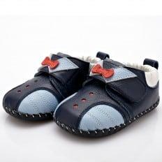YXY - Chaussures premiers pas cuir souple | Bleu marine noeud rouge