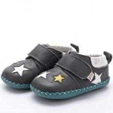 YXY - Zapatos de bebe primeros pasos de cuero niños | Grises con estrellas