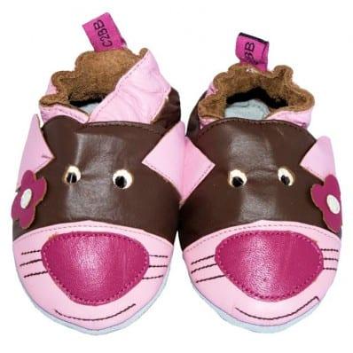 Krabbelschuhe Babyschuhe geschmeidiges Leder - Mädchen | Maus