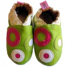 Krabbelschuhe Babyschuhe geschmeidiges Leder - Mädchen | Grün mit Kreisen