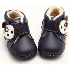 FREYCOO - Krabbelschuhe Babyschuhe Leder - Jungen | Blau gefüllte stiefe kleiner hund