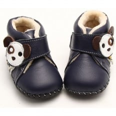 FREYCOO - Zapatos de bebe primeros pasos de cuero niños | Montantes forradas pequeño perro azul