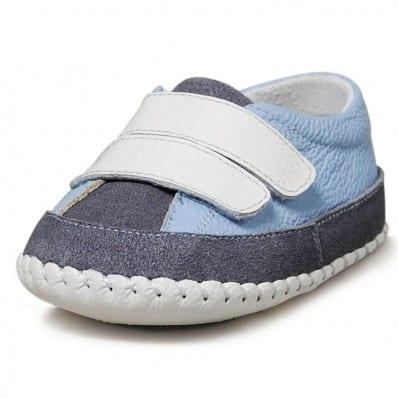 Little Blue Lamb - Krabbelschuhe Babyschuhe Leder - Jungen | Hellblau und Marineblau turnschuhe