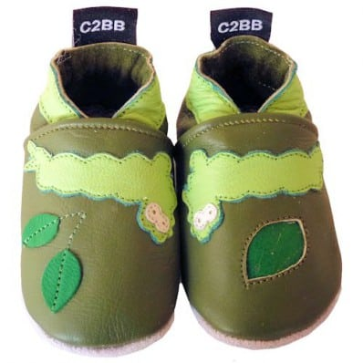 Soft leather baby shoes girls | Green caterpillar