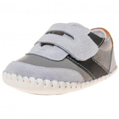 Little Blue Lamb - Chaussures premiers pas bébé en cuir souple | Baskets gris bande noir